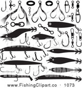 Clip Art of Black and White Fishing Lures and Hooks by Any Vector
