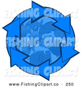 Clip Art of Blue Arrows Rotating Around Schooling Fish in the Deep Blue Sea by Djart