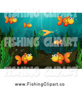 Clip Art of Goldfish Around a Lure by Graphics RF