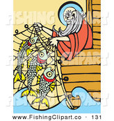 Clip Art of Noah Leaning over His Ark's Edge and Lifting Fish in a Net by Xunantunich