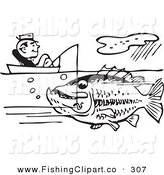 Clip Art of Old Fashioned Black and White Man Sitting in a Boat and Catching a Giant Fish by BestVector