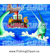 Clip Art of People Deep Sea Fishing and Catching a Giant Fish by Prawny