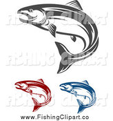 Clip Art of Red Blue and Gray Salmon Fish by Vector Tradition SM