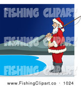 Clip Art of Santa Claus Standing with a Fishing Pole at a Lake by David Rey
