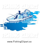 Clip Art of Silhouetted Women Fishing in a Boat by Lal Perera