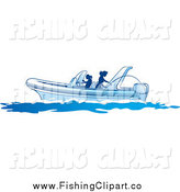 Clip Art of Silhouetted Women Fishing on a Boat by Lal Perera