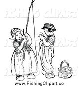 Clip Art of Vintage Black and White Dutch Children Stringing a Fishing Pole by Prawny Vintage