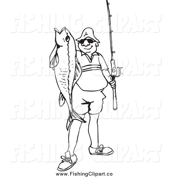 Clip Art of a Black and White Happy Fisherman Holding His Catch