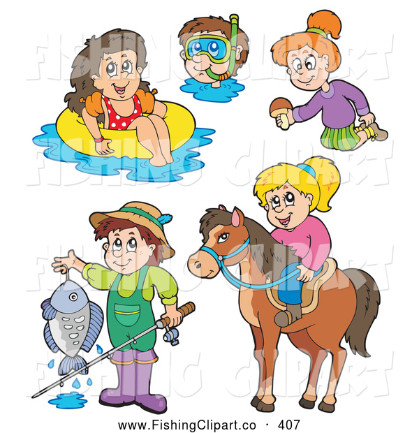 Clip Art of a Digital Collage of Fun Summer Recreation Activities (Fishing, Horseback Riding, Swimming)
