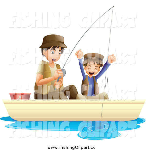 Clip Art of a Father and Cheering Son Fishing