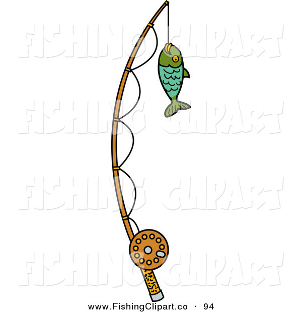 Clip Art of a Fish Caught on a Fishing Pole on White