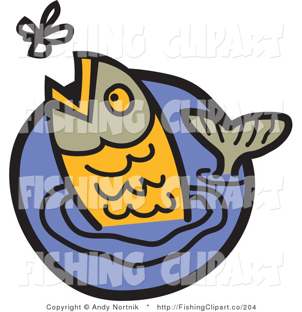 Clip Art of a Gray and Orange Trout Jumping out of Water to Catch a Fly