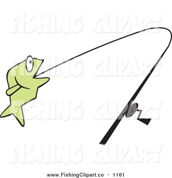 Clip Art of a Green Fish on a Line