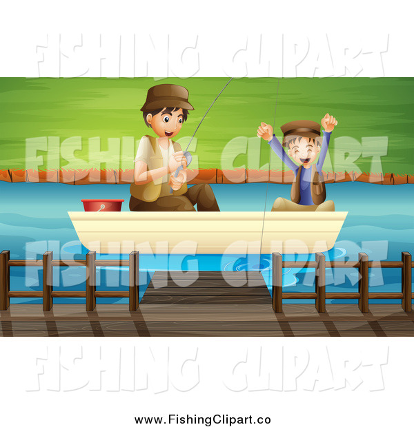 Clip Art of a Happy White Father and Son Catching a Fish