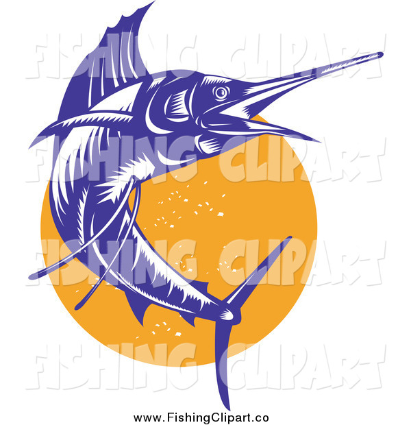 Clip Art of a Jumping Blue Sailfish over an Orange Circle