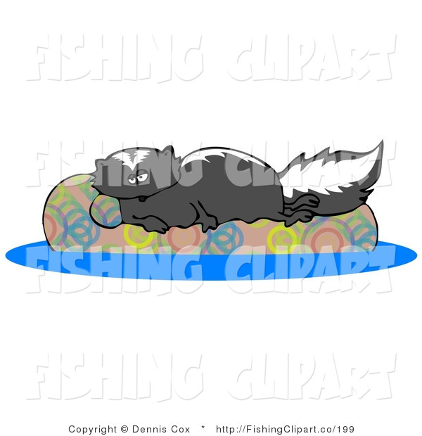 Clip Art of a Lazy Black Skunk Relaxing on a Floaty in a Swimming Pool
