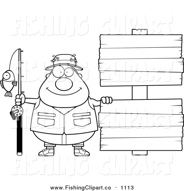 Clip Art of a Lineart Happy Chubby Fisherman with Wooden Signs