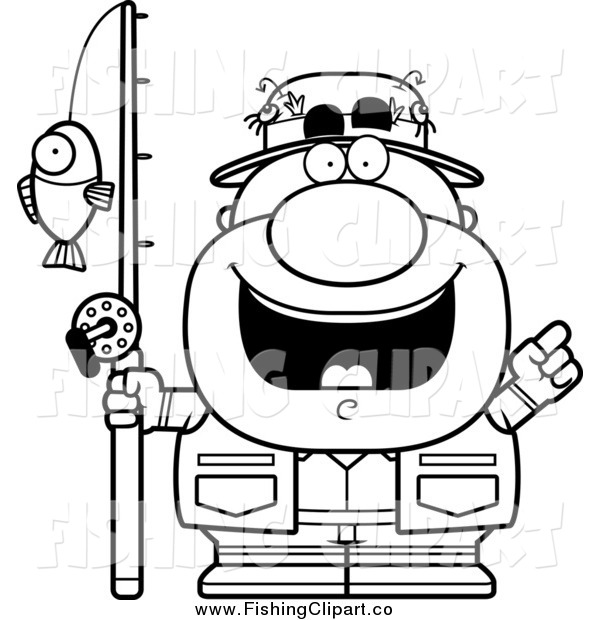 Clip Art of a Lineart Short Male Fisherman with an Idea