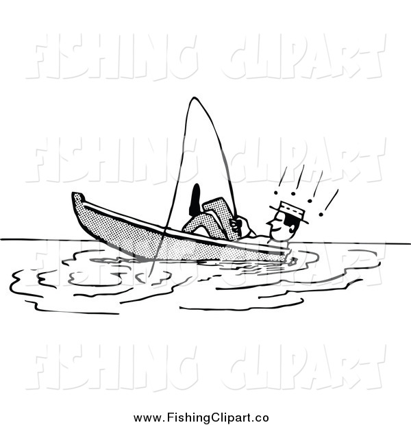 Clip Art of a Retro Black and White Man Relaxing and Leaning Back in a Boat While Fishing
