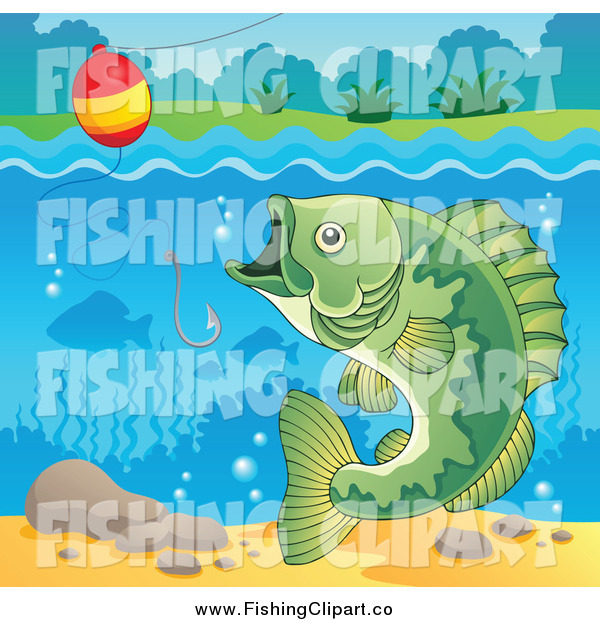 Clip Art of a River Bass Fish, Hook and Bobber