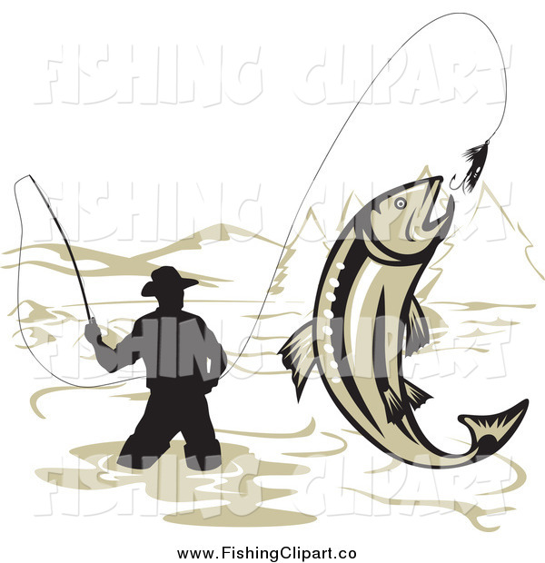 Clip Art of a Silhouetted Wading Fisherman and Leaping Trout