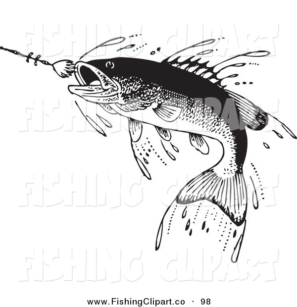 Clip Art of a Sporty Retro Black and White Fish Swimming Towards a Lure