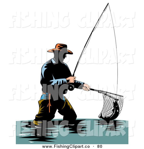Clip Art of a Sporty Wading Fisherman Scooping up a Fish with a Net