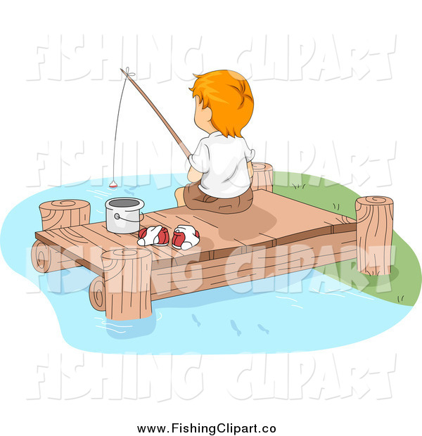 Clip Art of a White Boy Fishing off of a Lake Dock