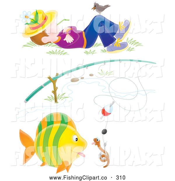 Clip Art of a Worm and Fish Under a Fishing Pole and Napping Boy on White