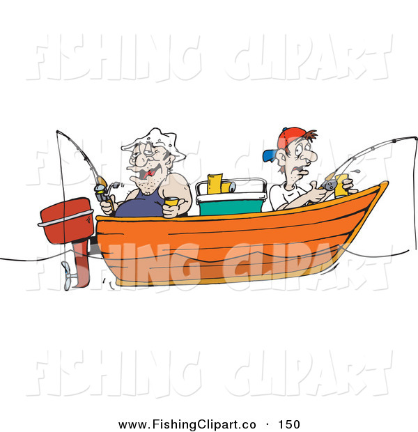 Clip Art of an Obese and Skinny Men Fishing in a Boat by ...