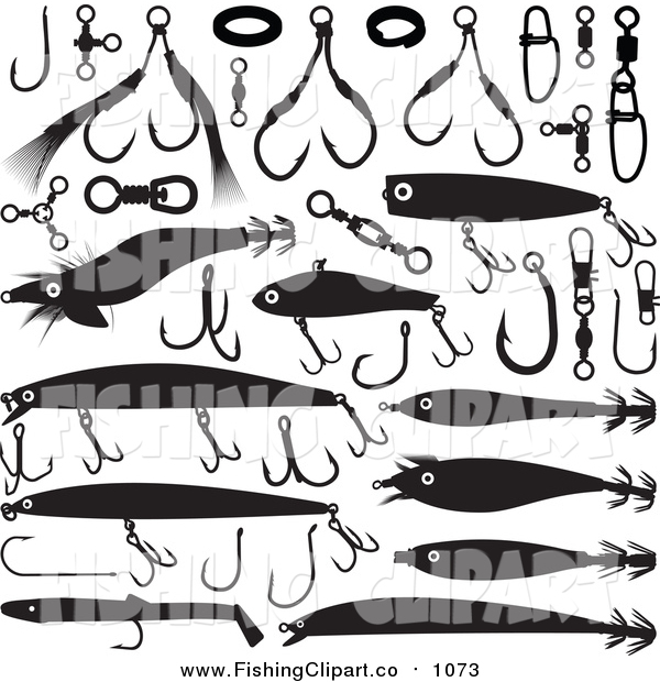 Clip Art of Black and White Fishing Lures and Hooks