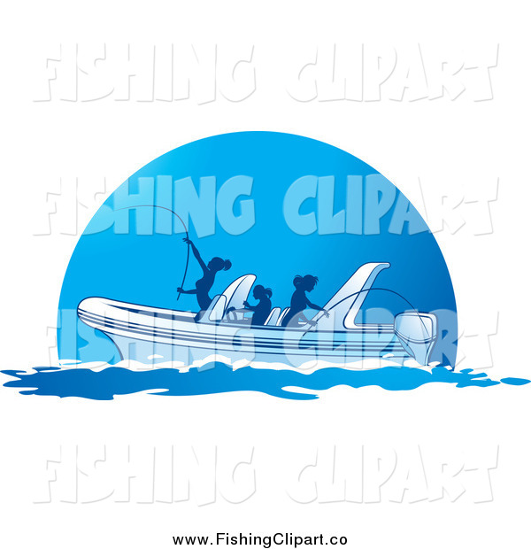Clip Art of Silhouetted Ladies Fishing from a Boat