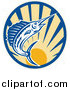 Clip Art of a Blue Marlin Leaping over a Circle of Sunshine by Patrimonio