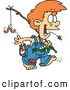 Clip Art of a Cheerful Cartoon Country Boy Carrying a Fishing Pole by Toonaday
