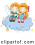 Clip Art of a Couple of Cheerful Children Fishing for Stars on a Cloud by BNP Design Studio
