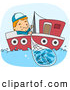 Clip Art of a Cute Fisherman Reeling in a Net on His Little Boat by BNP Design Studio