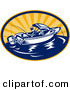 Clip Art of a Fishing Boat Logo out at Sea During a Sunrise or Sunset by Patrimonio