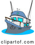 Clip Art of a Fishing Trawler Boat with Raised Anchor by Djart