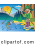 Clip Art of a Friendly Man Fishing at a Quiet Lake in the Woods by Visekart