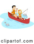 Clip Art of a Happy Father and Daughter Fishing and Boating on a River by BNP Design Studio