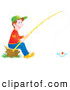 Clip Art of a Little Boy Sitting on a Stump and Fishing by Alex Bannykh