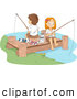 Clip Art of a Pair of Cute Summer Camp Kids Fishing on a Dock by BNP Design Studio