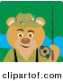 Clip Art of a Tan Fishing Bear Character by Dennis Holmes Designs