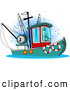 Clip Art of a Trawler Fishing Boat at Sea by Djart