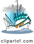 Clip Art of a Trawler Fishing Boat at Sea on White by Djart