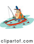 Clip Art of a White Cartoon Drunk Man Fishing in a Sinking Boat by Toonaday