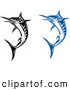 Clip Art of Jumping Blue and Black and White Billfish by Vector Tradition SM